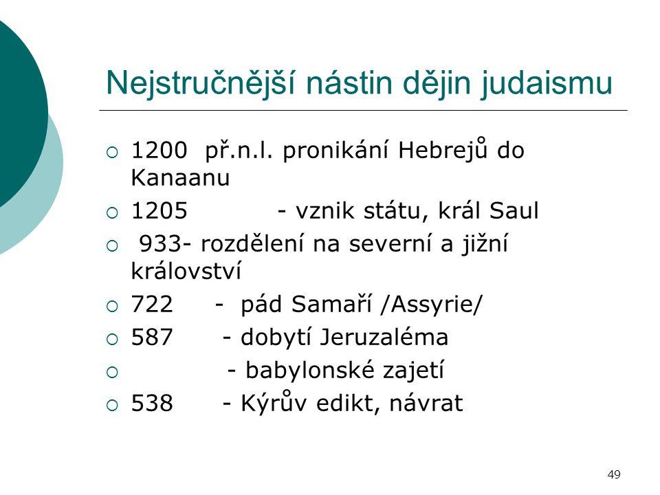 49 Nejstručnější nástin dějin judaismu  1200 př.n.l.