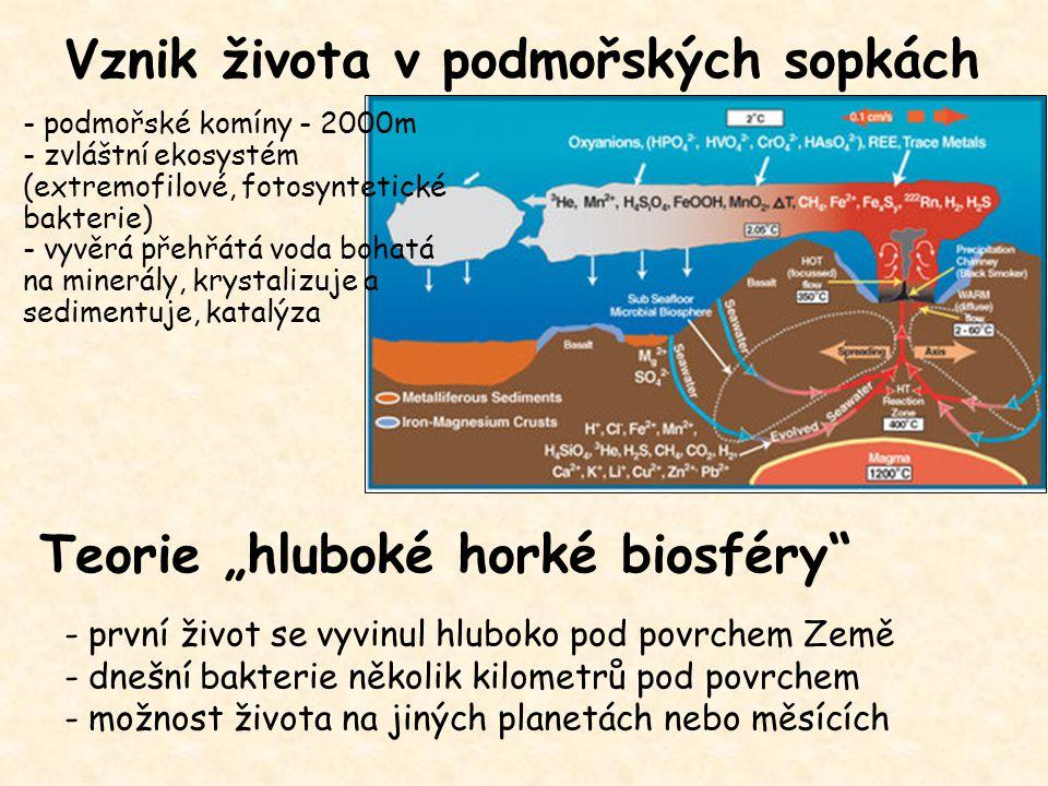 """Vznik života v podmořských sopkách - první život se vyvinul hluboko pod povrchem Země - dnešní bakterie několik kilometrů pod povrchem - možnost života na jiných planetách nebo měsících Teorie """"hluboké horké biosféry - podmořské komíny - 2000m - zvláštní ekosystém (extremofilové, fotosyntetické bakterie) - vyvěrá přehřátá voda bohatá na minerály, krystalizuje a sedimentuje, katalýza"""