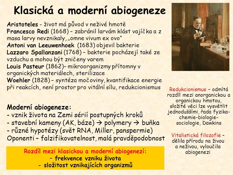"""Klasická a moderní abiogeneze Aristoteles - život má původ v neživé hmotě Francesco Redi (1668) – zabránil larvám klást vajíčka a z masa larvy nevznikaly, """"omne vivum ex ovo Antoni van Leeuwenhoek (1683) objevil bakterie Lazzaro Spallanzani (1768) – bakterie pocházejí také ze vzduchu a mohou být zničeny varem Louis Pasteur (1862)– mikroorganizmy přítomny v organických materiálech, sterilizace Woehler (1828) – syntéza močoviny, kvantifikace energie při reakcích, není prostor pro vitální sílu, redukcionismus Moderní abiogeneze: - vznik života na Zemi sérií postupných kroků - stavební kameny (AK, báze)  polymery  buňka - různé hypotézy (svět RNA, Miller, panspermie) Oponenti – falzifikovatelnost, malá pravděpodobnost Rozdíl mezi klasickou a moderní abiogenezí: – frekvence vzniku života - složitost vznikajících organizmů Redukcionismus – odmítá rozdíl mezi anorganickou a organickou hmotou, složité věci lze vysvětlit jednoduššími, řada fyzika- chemie-biologie- sociologie, Dawkins Vitalistická filozofie – dělila přírodu na živou a neživou, vyloučila abiogenezi"""