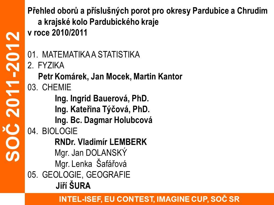 Přehled oborů a příslušných porot pro okresy Pardubice a Chrudim a krajské kolo Pardubického kraje v roce 2010/2011 01. MATEMATIKA A STATISTIKA 2.FYZI
