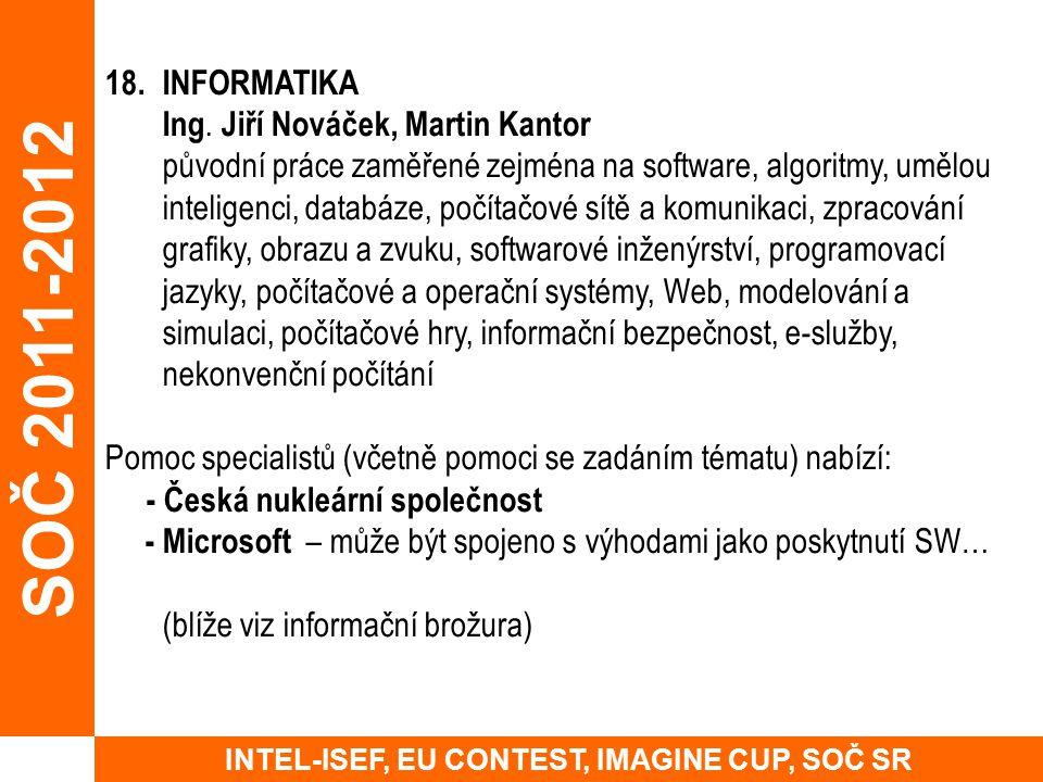 18. INFORMATIKA Ing. Jiří Nováček, Martin Kantor původní práce zaměřené zejména na software, algoritmy, umělou inteligenci, databáze, počítačové sítě