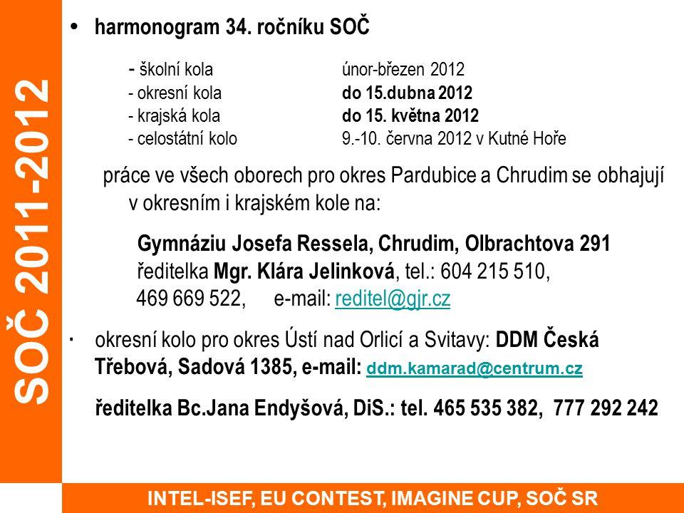 harmonogram 34. ročníku SOČ - školní kolaúnor-březen 2012 - okresní kola do 15.dubna 2012 - krajská kola do 15. května 2012 - celostátní kolo9.-10.