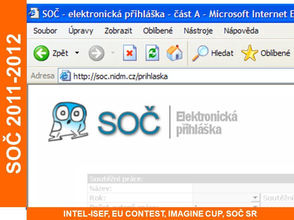 SOČ 2011-2012 INTEL-ISEF, EU CONTEST, IMAGINE CUP, SOČ SR
