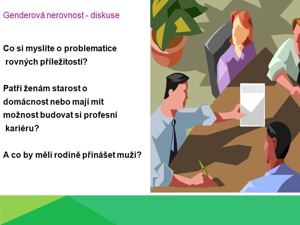 Genderová nerovnost - diskuse Co si myslíte o problematice rovných příležitostí.