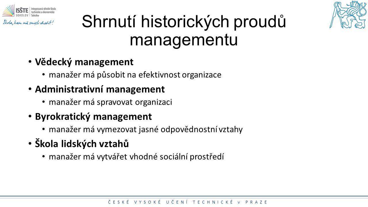 ČESKÉ VYSOKÉ UČENÍ TECHNICKÉ v PRAZE Shrnutí historických proudů managementu Vědecký management manažer má působit na efektivnost organizace Administr