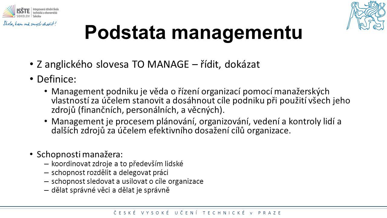 ČESKÉ VYSOKÉ UČENÍ TECHNICKÉ v PRAZE Podstata managementu Z anglického slovesa TO MANAGE – řídit, dokázat Definice: Management podniku je věda o řízen