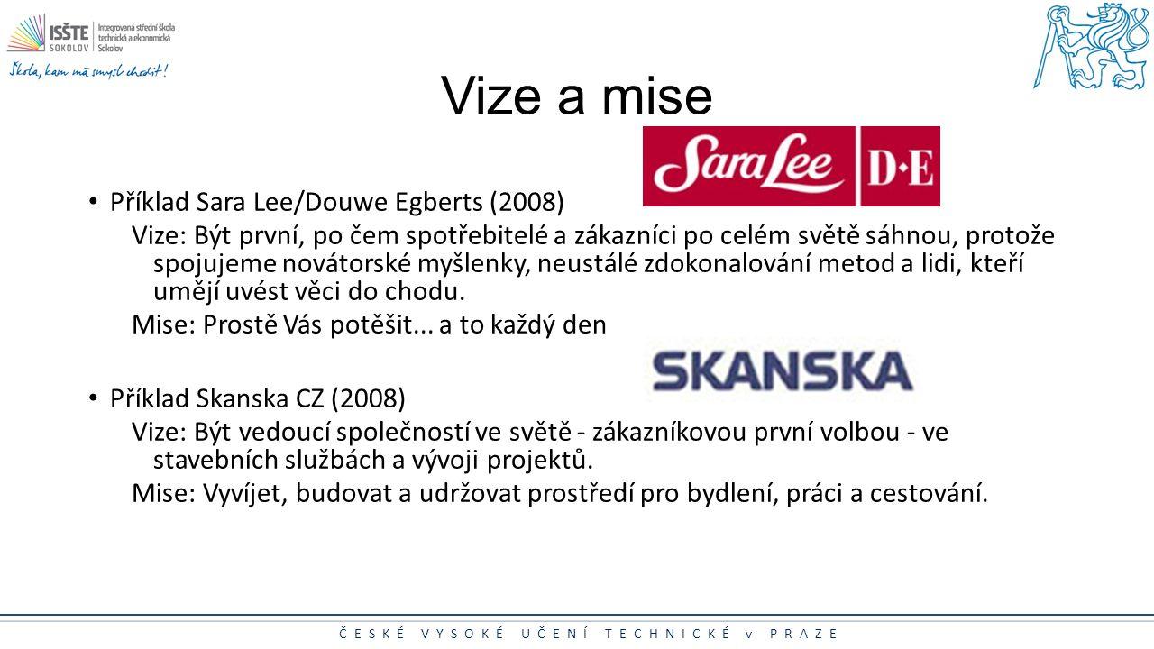 ČESKÉ VYSOKÉ UČENÍ TECHNICKÉ v PRAZE Vize a mise Příklad Sara Lee/Douwe Egberts (2008) Vize: Být první, po čem spotřebitelé a zákazníci po celém světě