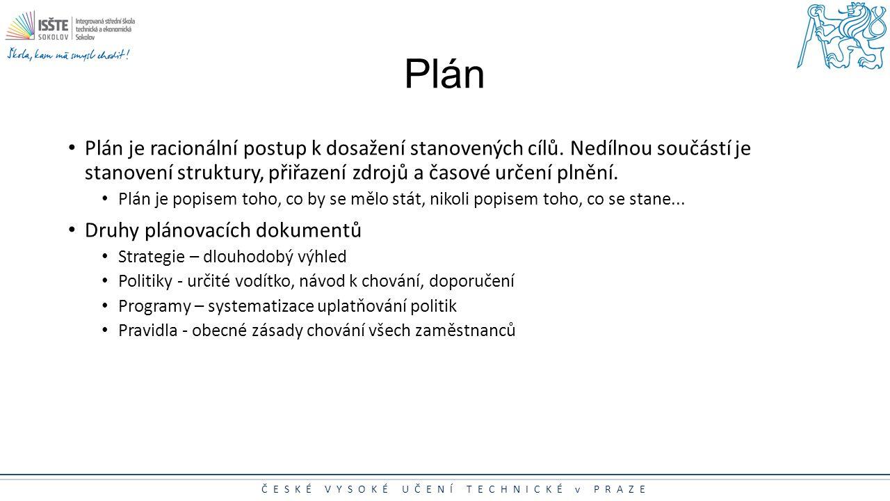 ČESKÉ VYSOKÉ UČENÍ TECHNICKÉ v PRAZE Plán Plán je racionální postup k dosažení stanovených cílů. Nedílnou součástí je stanovení struktury, přiřazení z