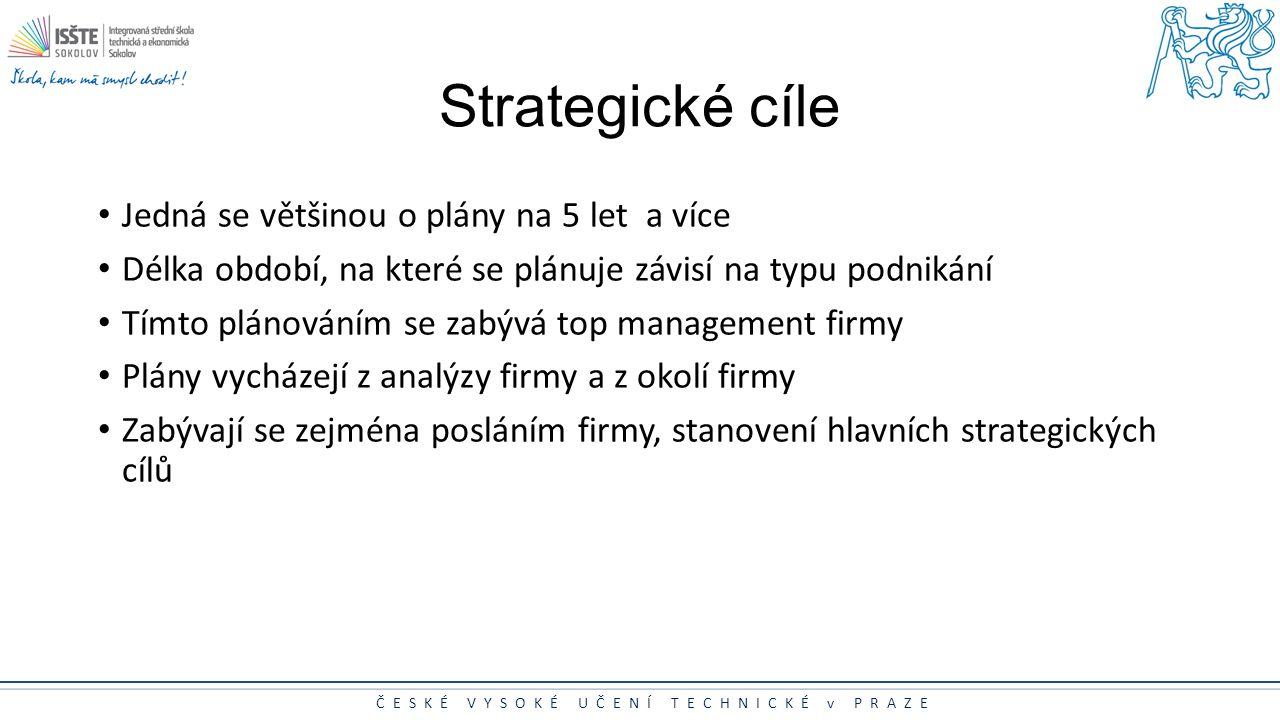 ČESKÉ VYSOKÉ UČENÍ TECHNICKÉ v PRAZE Strategické cíle Jedná se většinou o plány na 5 let a více Délka období, na které se plánuje závisí na typu podni
