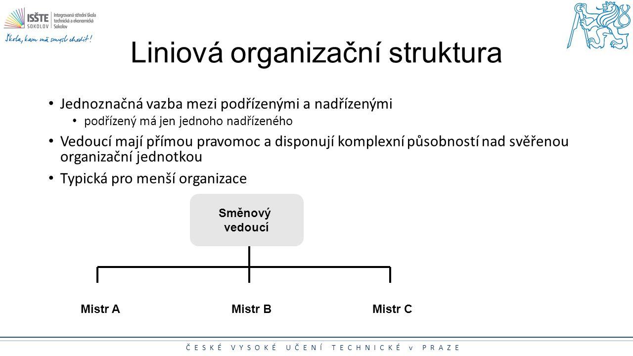 ČESKÉ VYSOKÉ UČENÍ TECHNICKÉ v PRAZE Liniová organizační struktura Jednoznačná vazba mezi podřízenými a nadřízenými podřízený má jen jednoho nadřízené