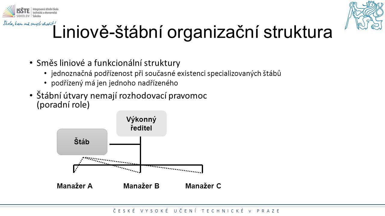ČESKÉ VYSOKÉ UČENÍ TECHNICKÉ v PRAZE Liniově-štábní organizační struktura Směs liniové a funkcionální struktury jednoznačná podřízenost při současné e