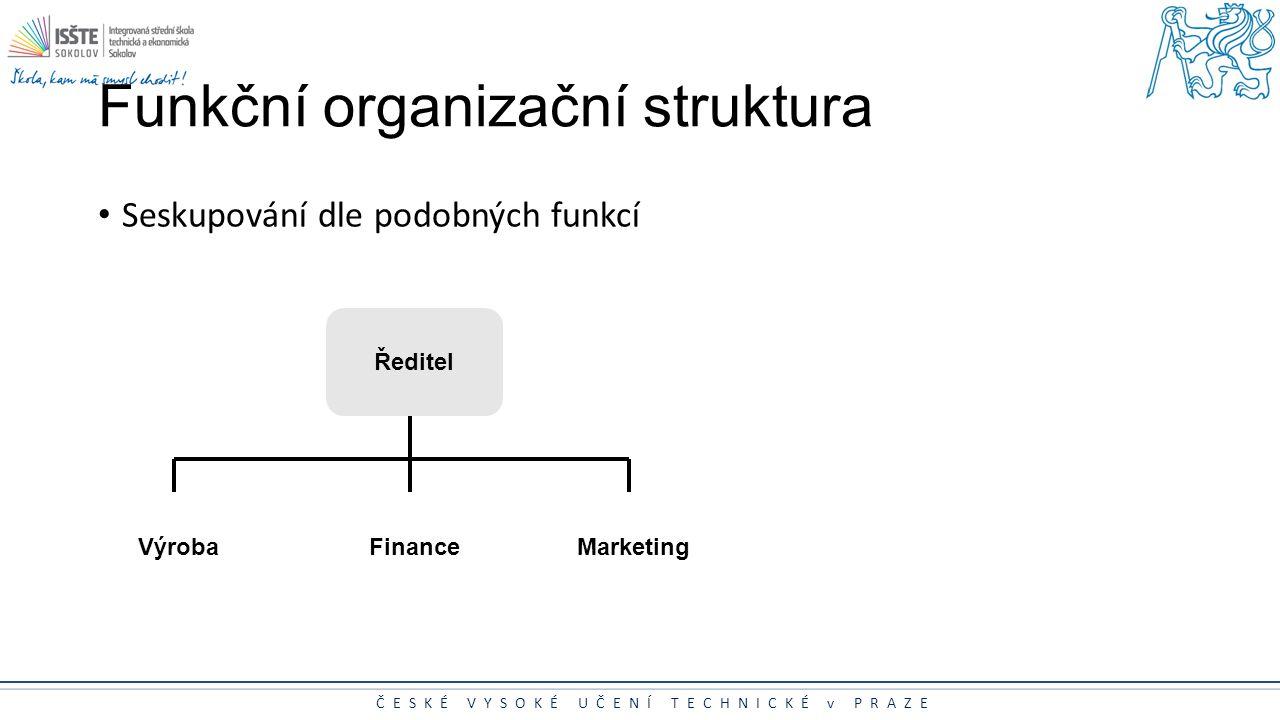 ČESKÉ VYSOKÉ UČENÍ TECHNICKÉ v PRAZE Funkční organizační struktura Seskupování dle podobných funkcí Výroba Ředitel FinanceMarketing