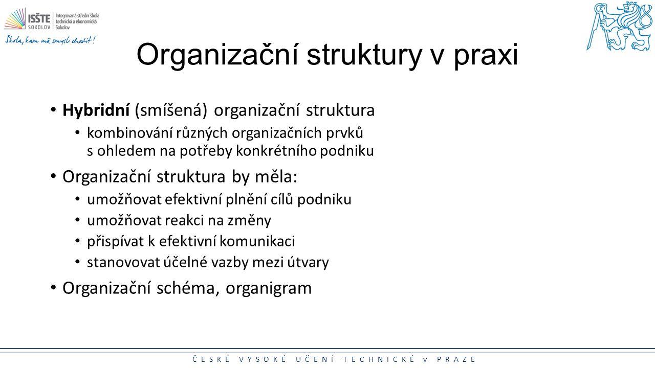 ČESKÉ VYSOKÉ UČENÍ TECHNICKÉ v PRAZE Organizační struktury v praxi Hybridní (smíšená) organizační struktura kombinování různých organizačních prvků s