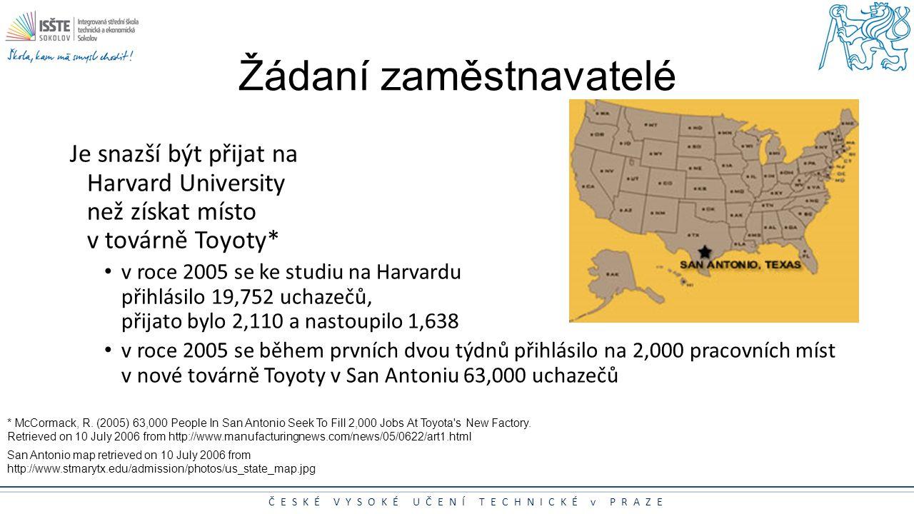ČESKÉ VYSOKÉ UČENÍ TECHNICKÉ v PRAZE Žádaní zaměstnavatelé Je snazší být přijat na Harvard University než získat místo v továrně Toyoty* v roce 2005 s