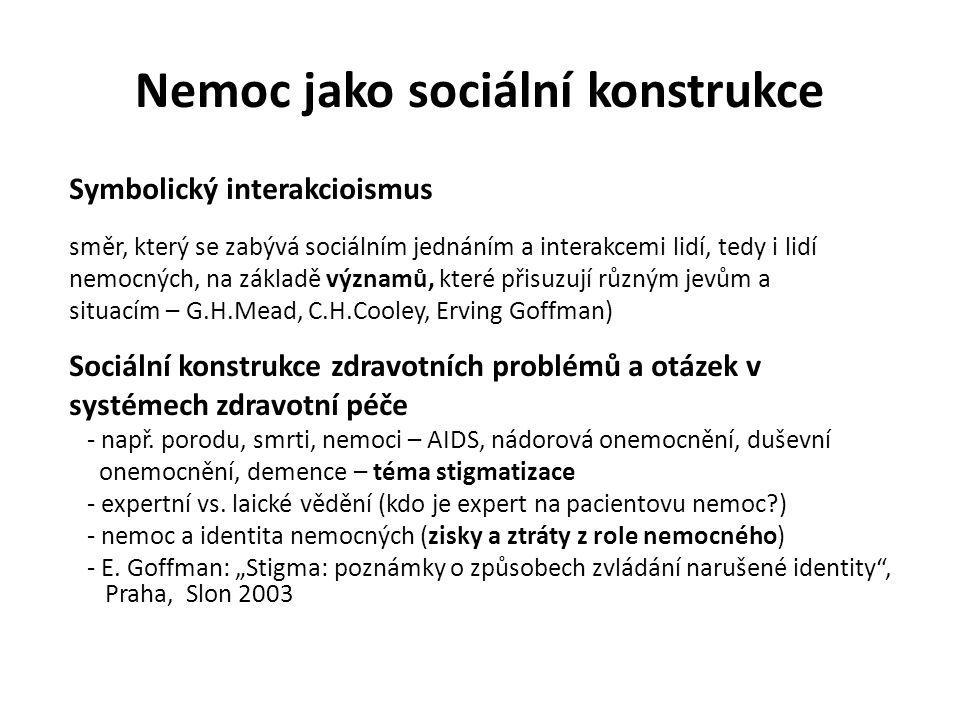 Nemoc jako sociální konstrukce Symbolický interakcioismus směr, který se zabývá sociálním jednáním a interakcemi lidí, tedy i lidí nemocných, na zákla