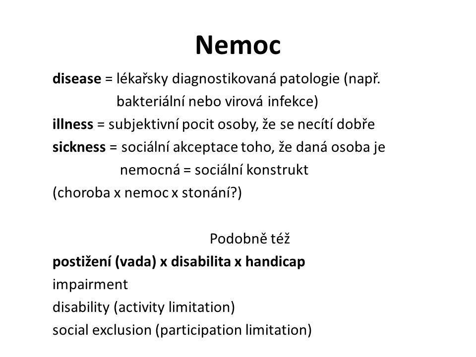 Nemoc disease = lékařsky diagnostikovaná patologie (např. bakteriální nebo virová infekce) illness = subjektivní pocit osoby, že se necítí dobře sickn