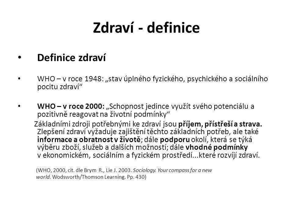 """Zdraví - definice Definice zdraví WHO – v roce 1948: """"stav úplného fyzického, psychického a sociálního pocitu zdraví"""" WHO – v roce 2000: """"Schopnost je"""