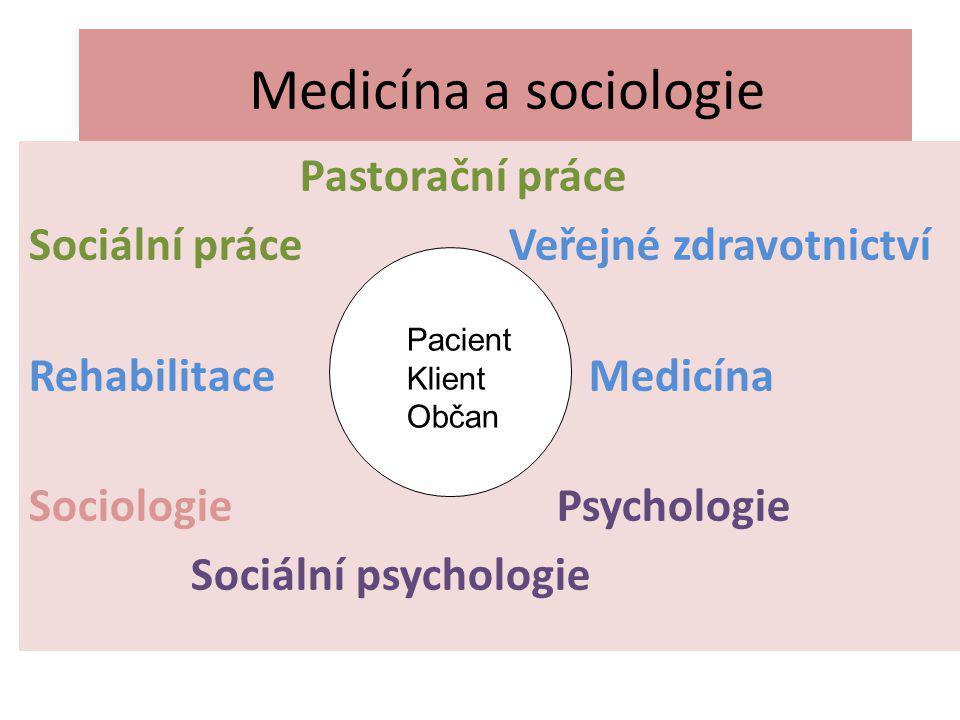 Medicína a sociologie Pastorační práce Sociální práce Veřejné zdravotnictví Rehabilitace Medicína Sociologie Psychologie Sociální psychologie Pacient