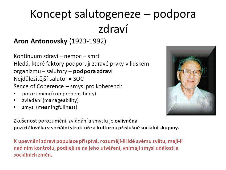 Koncept salutogeneze – podpora zdraví Aron Antonovsky (1923-1992) Kontinuum zdraví – nemoc – smrt Hledá, které faktory podporují zdravé prvky v lidské
