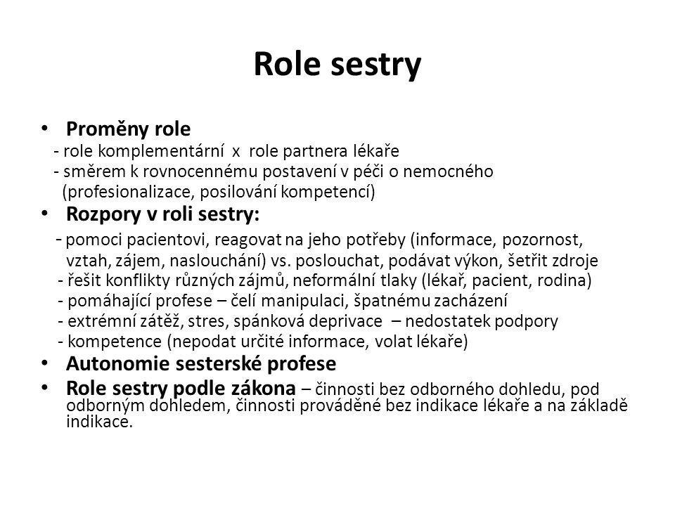 Role sestry Proměny role - role komplementární x role partnera lékaře - směrem k rovnocennému postavení v péči o nemocného (profesionalizace, posilová