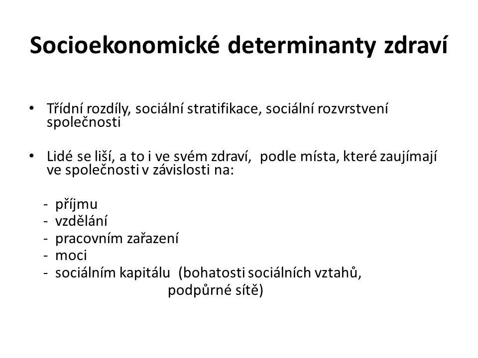 Socioekonomické determinanty zdraví Třídní rozdíly, sociální stratifikace, sociální rozvrstvení společnosti Lidé se liší, a to i ve svém zdraví, podle