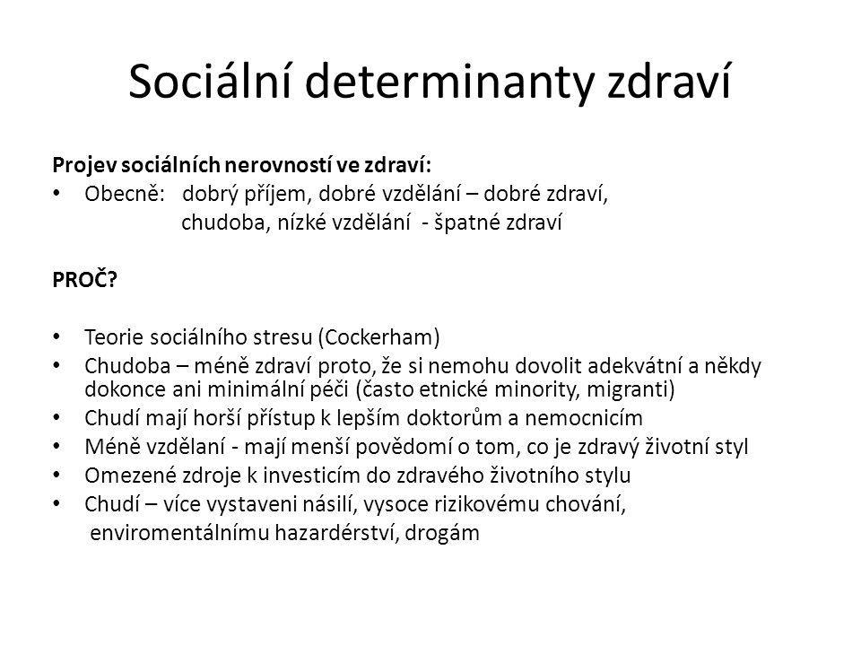 Sociální determinanty zdraví Projev sociálních nerovností ve zdraví: Obecně: dobrý příjem, dobré vzdělání – dobré zdraví, chudoba, nízké vzdělání - šp