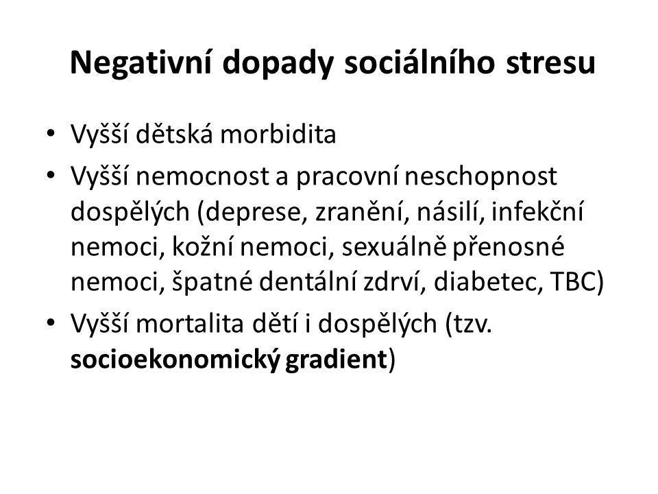 Negativní dopady sociálního stresu Vyšší dětská morbidita Vyšší nemocnost a pracovní neschopnost dospělých (deprese, zranění, násilí, infekční nemoci,