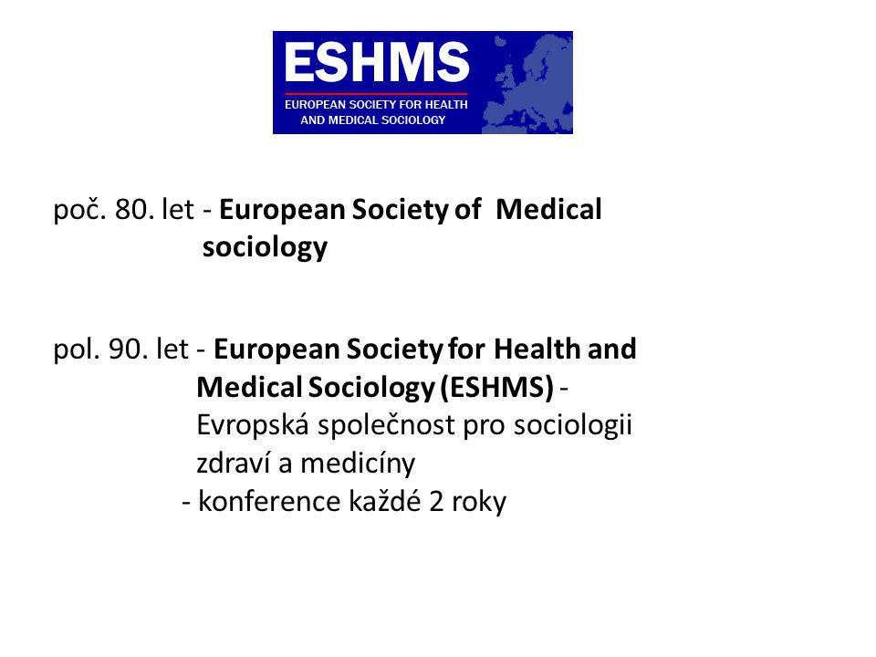 poč. 80. let - European Society of Medical sociology pol. 90. let - European Society for Health and Medical Sociology (ESHMS) - Evropská společnost pr