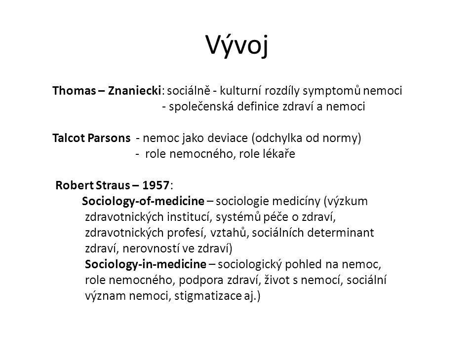 Vývoj Thomas – Znaniecki: sociálně - kulturní rozdíly symptomů nemoci - společenská definice zdraví a nemoci Talcot Parsons - nemoc jako deviace (odch