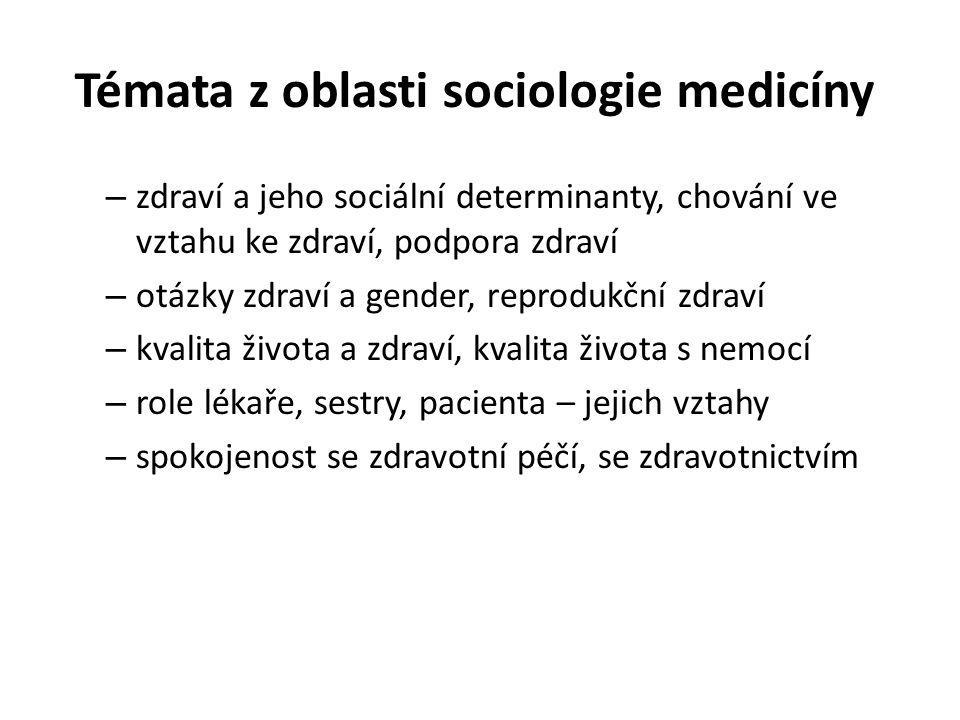 Témata z oblasti sociologie medicíny – zdraví a jeho sociální determinanty, chování ve vztahu ke zdraví, podpora zdraví – otázky zdraví a gender, repr