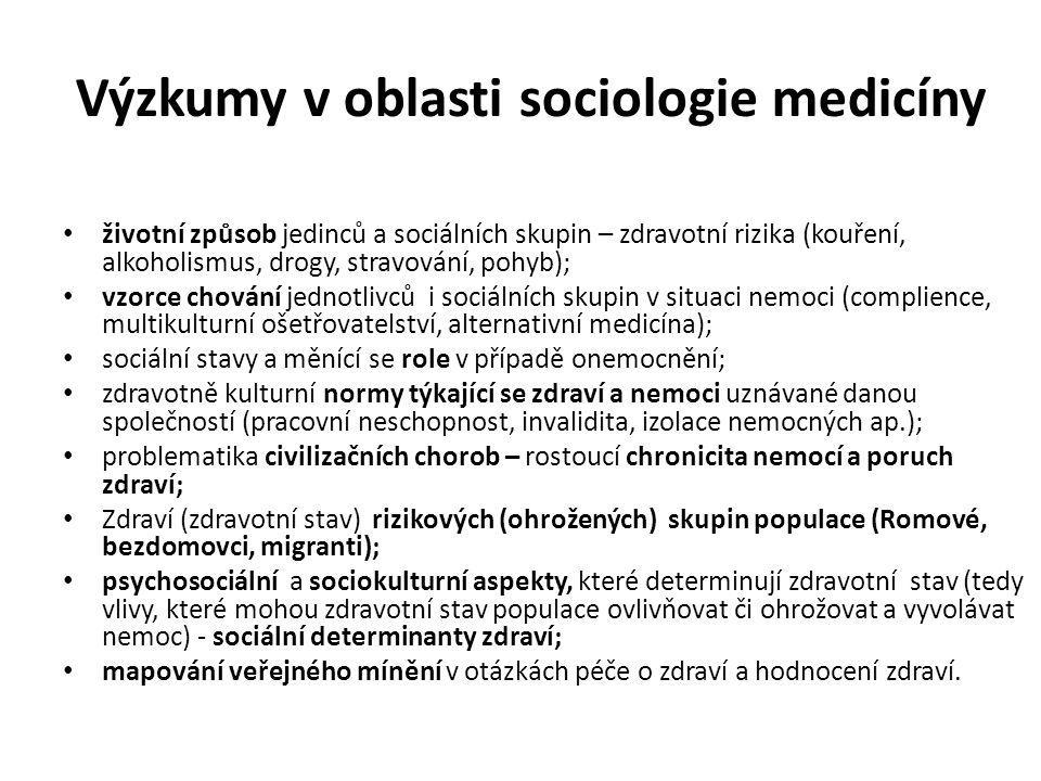 Výzkumy v oblasti sociologie medicíny životní způsob jedinců a sociálních skupin – zdravotní rizika (kouření, alkoholismus, drogy, stravování, pohyb);
