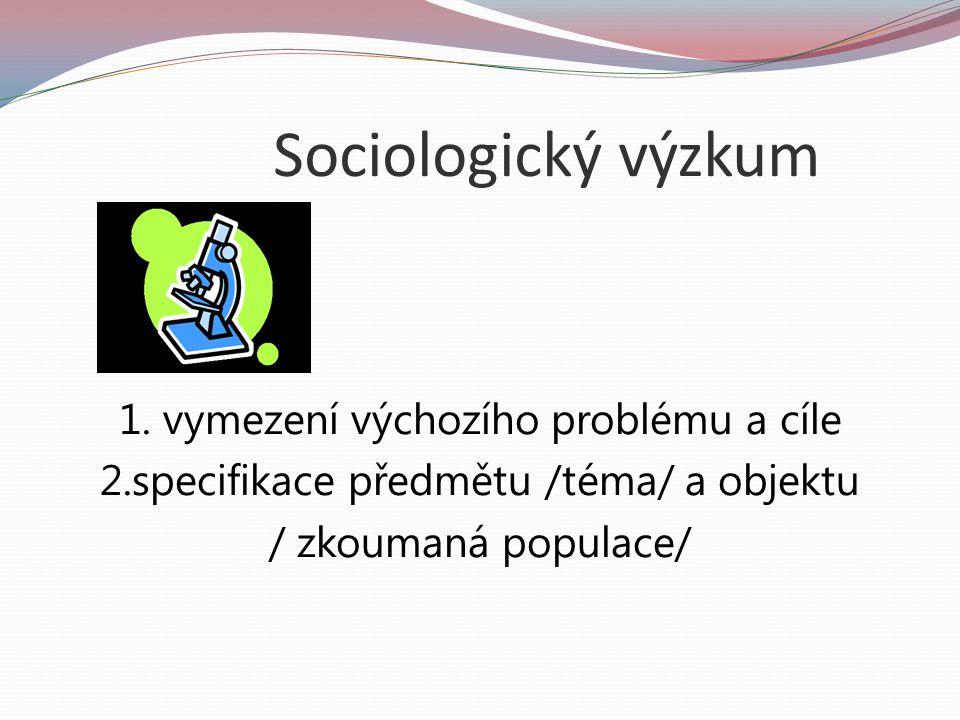 Sociologický výzkum Cíle výzkumu – diagnostika, popis, vysvětlení, aplikace v praxi, doporučení,...