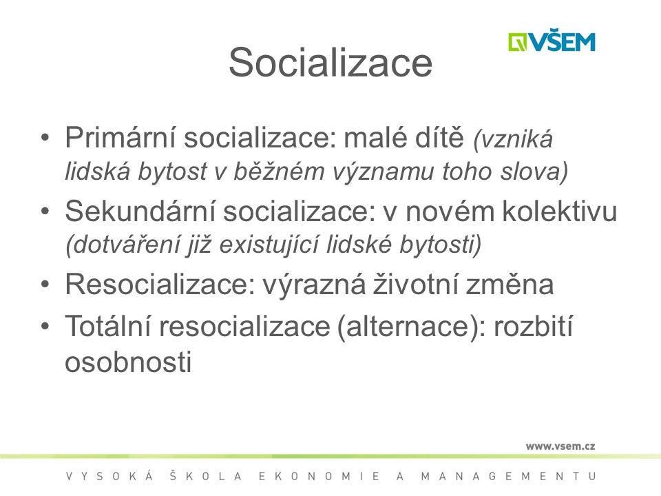 Socializace Primární socializace: malé dítě (vzniká lidská bytost v běžném významu toho slova) Sekundární socializace: v novém kolektivu (dotváření již existující lidské bytosti) Resocializace: výrazná životní změna Totální resocializace (alternace): rozbití osobnosti