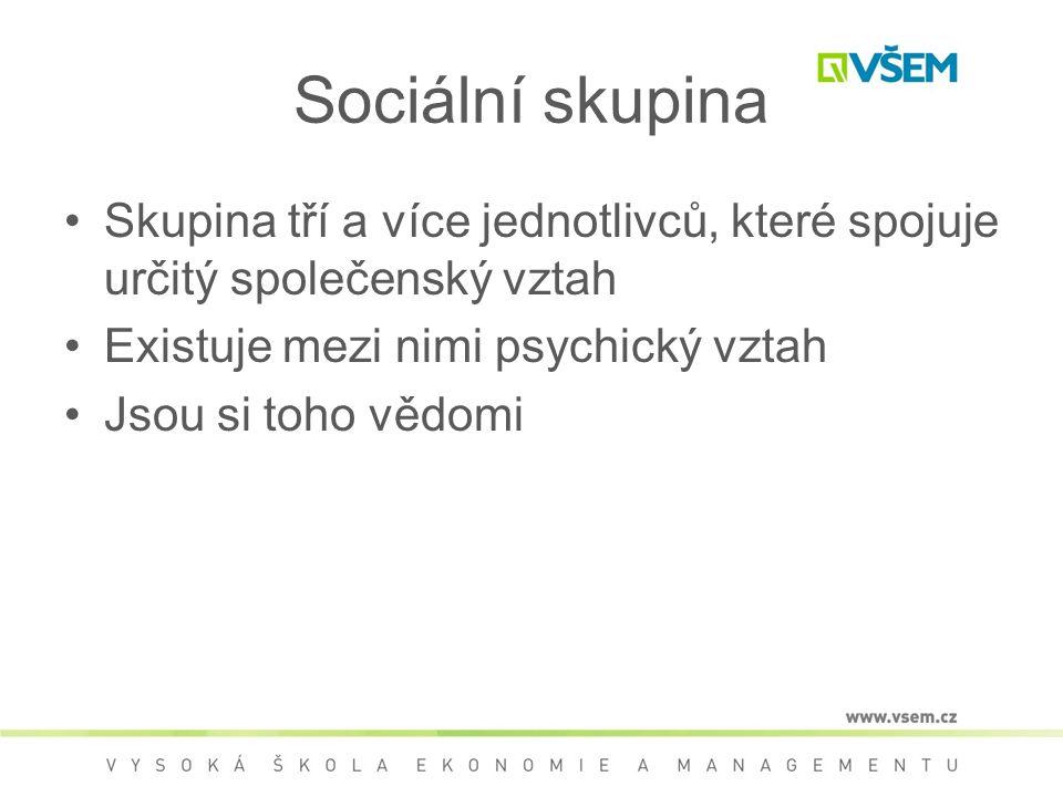Sociální skupina Skupina tří a více jednotlivců, které spojuje určitý společenský vztah Existuje mezi nimi psychický vztah Jsou si toho vědomi