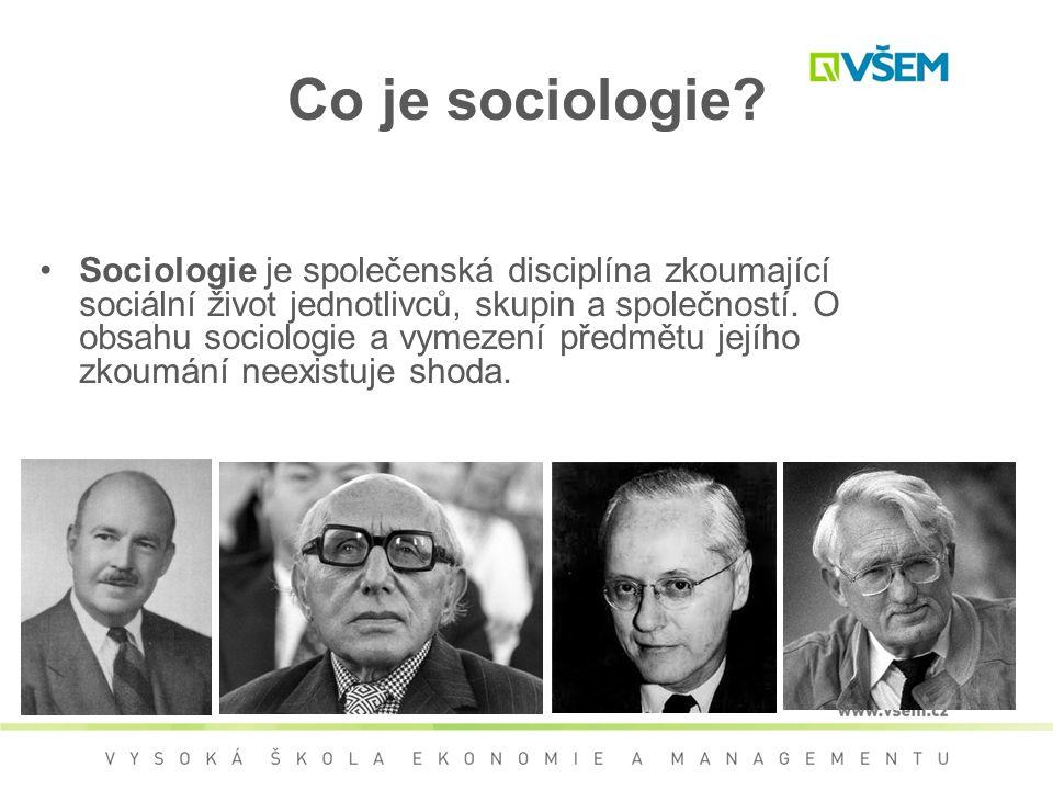 Čím se zabývá sociologie Jedinci, strukturou jejich osobnosti, povahovými rysy, návyky a tím, jak se to vše vytváří a udržuje Vztahy, události a procesy odehrávající se mezi lidmi Skupiny Společnosti jako celky Obecné teorie, které o tom pojednávají Způsob, jak se tím zabývají: formulace a ověřování hypotéz.