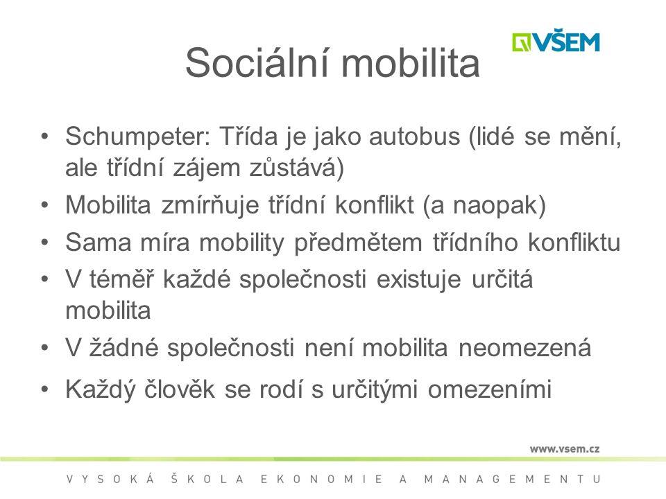 Sociální mobilita Schumpeter: Třída je jako autobus (lidé se mění, ale třídní zájem zůstává) Mobilita zmírňuje třídní konflikt (a naopak) Sama míra mobility předmětem třídního konfliktu V téměř každé společnosti existuje určitá mobilita V žádné společnosti není mobilita neomezená Každý člověk se rodí s určitými omezeními