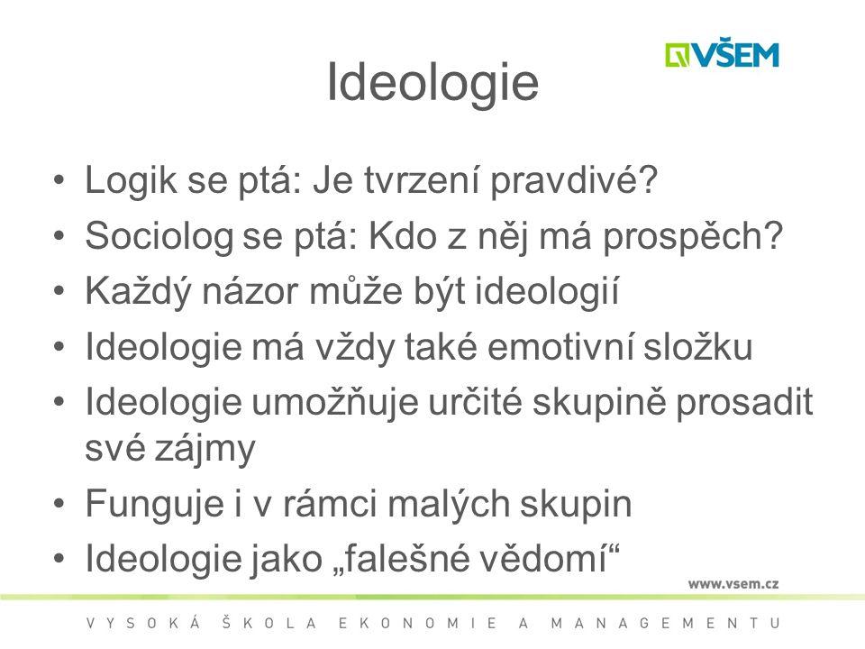 Ideologie Logik se ptá: Je tvrzení pravdivé.Sociolog se ptá: Kdo z něj má prospěch.