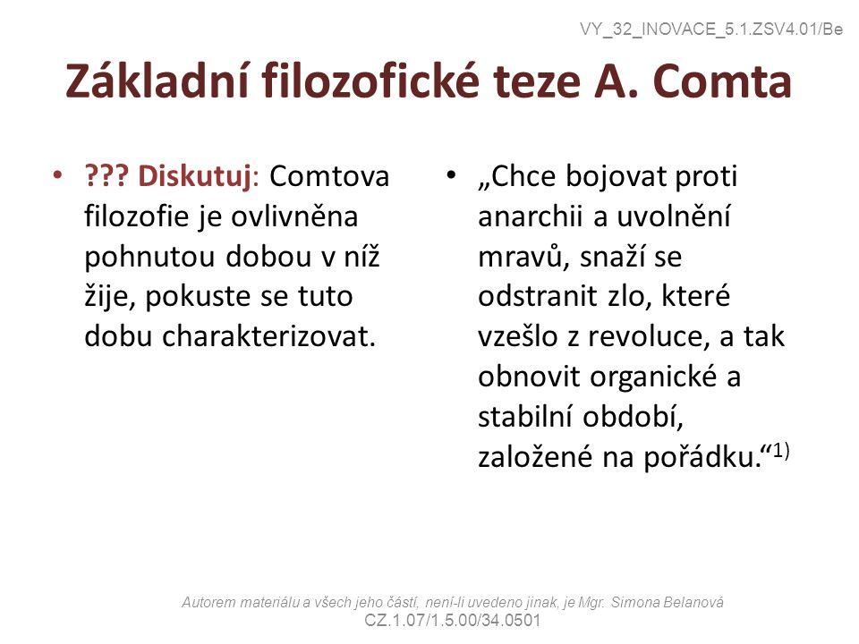 Základní filozofické teze A.Comta ??.