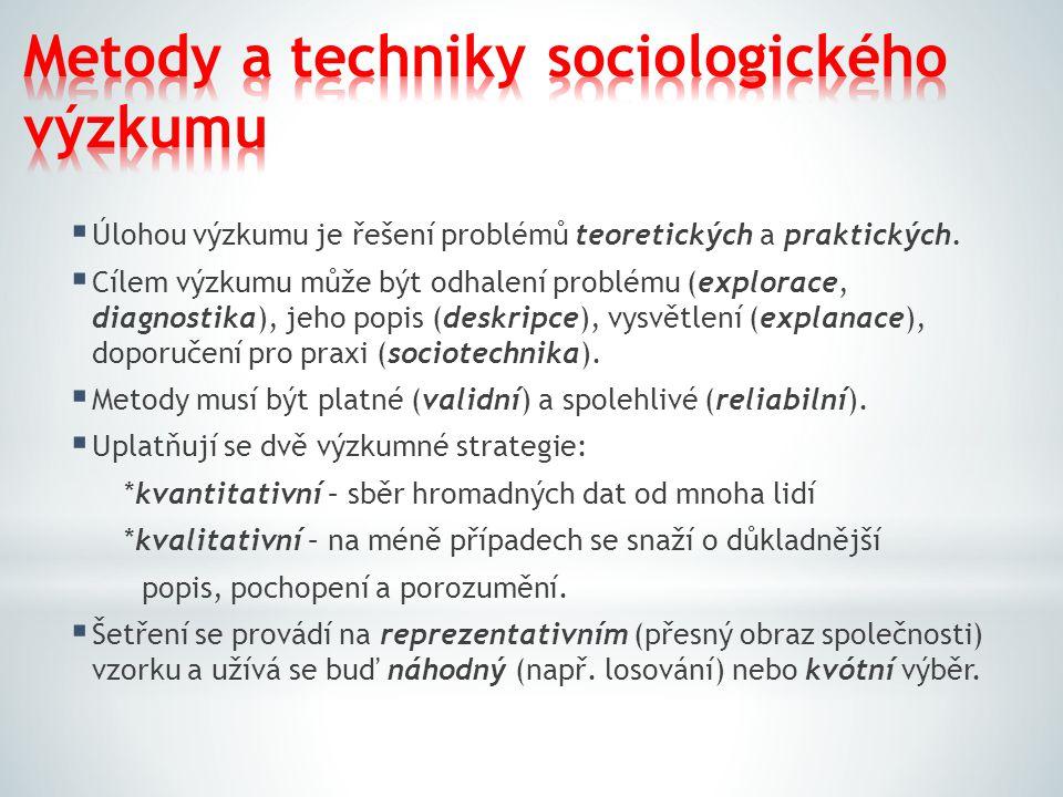  Úlohou výzkumu je řešení problémů teoretických a praktických.  Cílem výzkumu může být odhalení problému (explorace, diagnostika), jeho popis (deskr