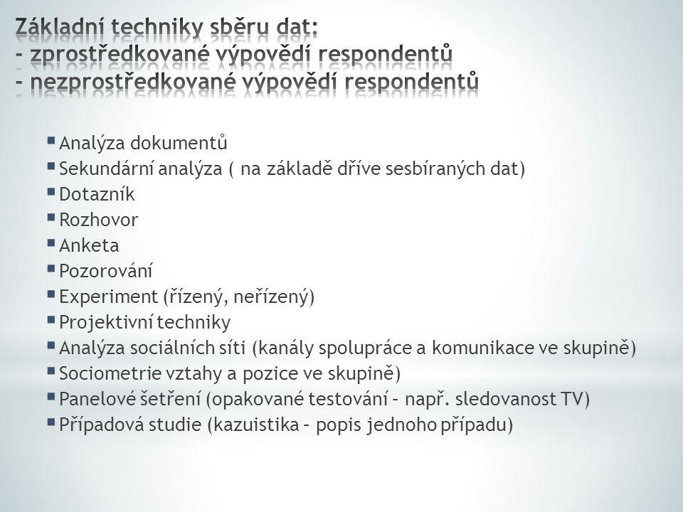 Analýza dokumentů  Sekundární analýza ( na základě dříve sesbíraných dat)  Dotazník  Rozhovor  Anketa  Pozorování  Experiment (řízený, neřízen