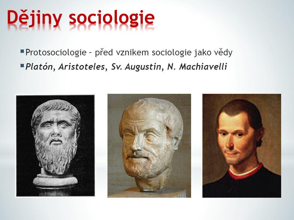  Protosociologie – před vznikem sociologie jako vědy  Platón, Aristoteles, Sv. Augustin, N. Machiavelli