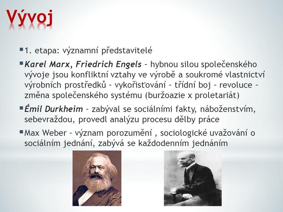 1. etapa: významní představitelé  Karel Marx, Friedrich Engels – hybnou silou společenského vývoje jsou konfliktní vztahy ve výrobě a soukromé vlas