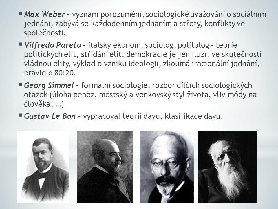  Max Weber – význam porozumění, sociologické uvažování o sociálním jednání, zabývá se každodenním jednáním a střety, konflikty ve společnosti.  Vilf