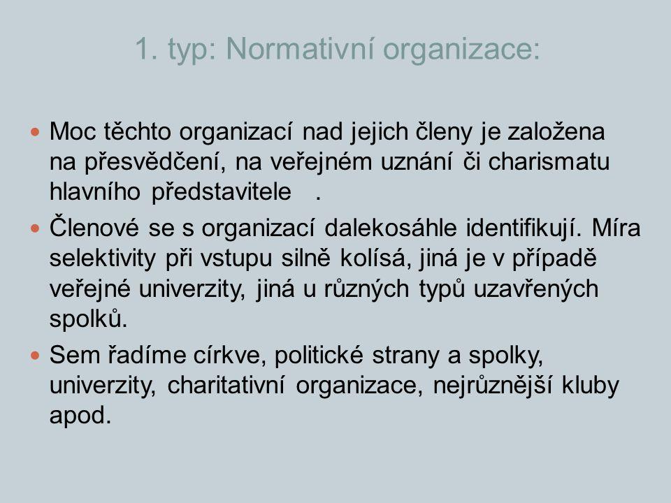 1. typ: Normativní organizace: Moc těchto organizací nad jejich členy je založena na přesvědčení, na veřejném uznání či charismatu hlavního představit