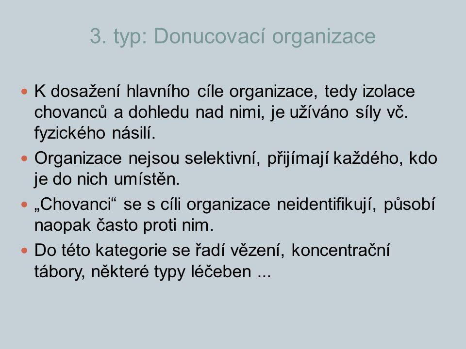 3. typ: Donucovací organizace K dosažení hlavního cíle organizace, tedy izolace chovanců a dohledu nad nimi, je užíváno síly vč. fyzického násilí. Org