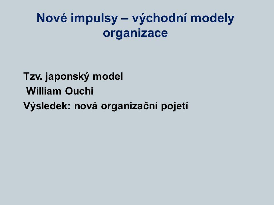 Nové impulsy – východní modely organizace Tzv. japonský model William Ouchi Výsledek: nová organizační pojetí