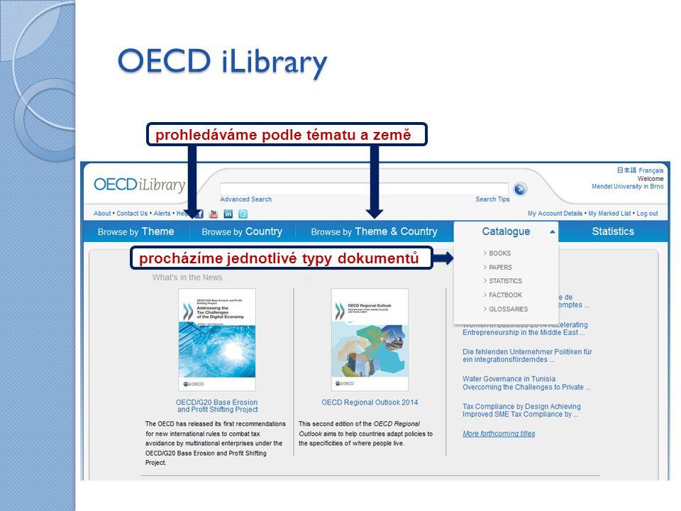 OECD iLibrary procházíme jednotlivé typy dokumentů prohledáváme podle tématu a země