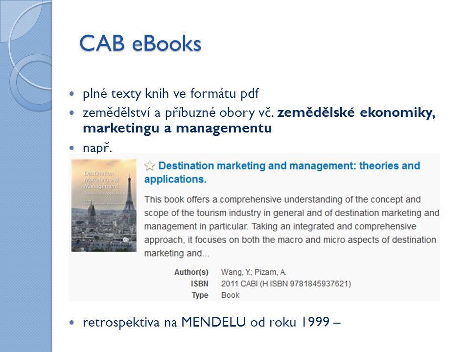 CAB eBooks plné texty knih ve formátu pdf zemědělství a příbuzné obory vč.