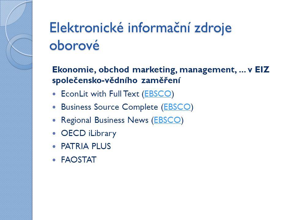 Elektronické informační zdroje oborové Ekonomie, obchod marketing, management,...