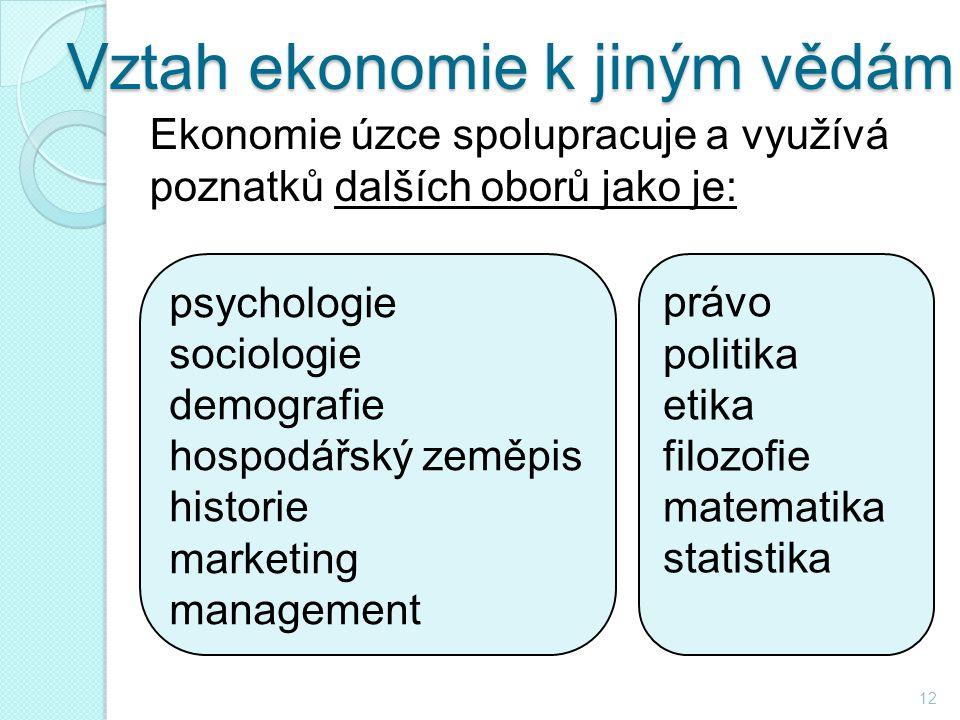 Vztah ekonomie k jiným vědám Ekonomie úzce spolupracuje a využívá poznatků dalších oborů jako je: 12 psychologie sociologie demografie hospodářský zeměpis historie marketing management právo politika etika filozofie matematika statistika